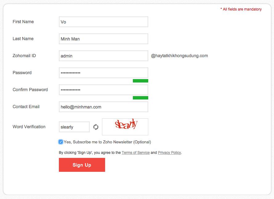 đang ký email theo tên miền